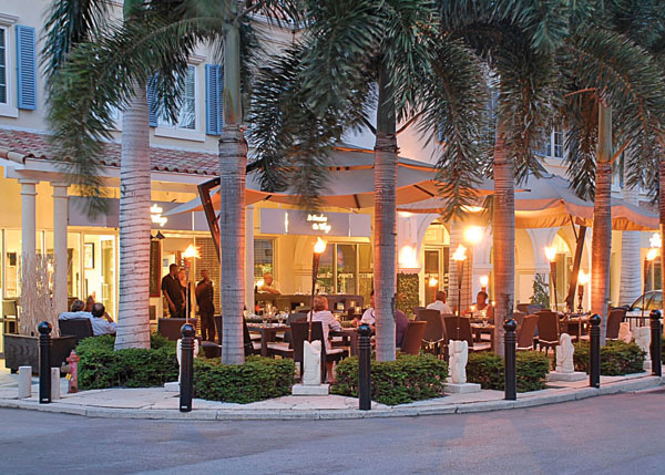 A photograph of the sidewalk cafe Le Bouchon du Village, Grace Bay, Providenciales (Provo), Turks and Caicos Islands, British West Indies