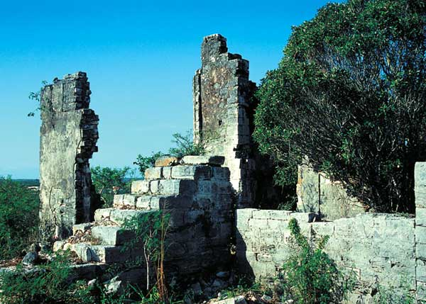 A photograph of Cheshire Hall Loyalist Plantation ruins on Providenciales (Provo), Turks and Caicos Islands