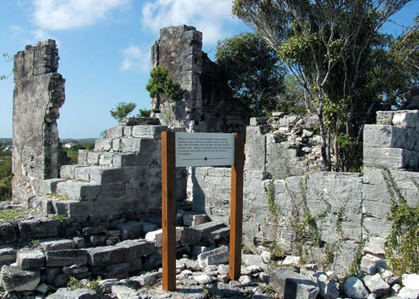 A photograph of the Cheshire Hall Plantation ruins on Providenciales (Provo), Turks and Caicos Islands, British West Indies