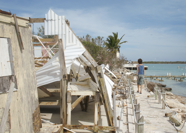 A photograph of hurricane Hanna damage, Turks and Caicos Islands, British West Indies