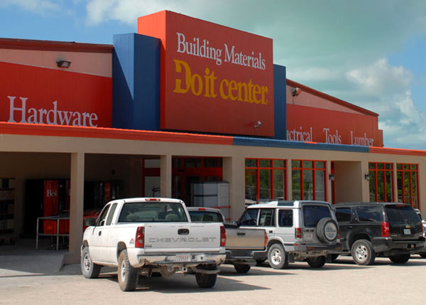 A photograph of the Building Materials Do-It Center on Providenciales (Provo), Turks and Caicos Islands, British West Indies