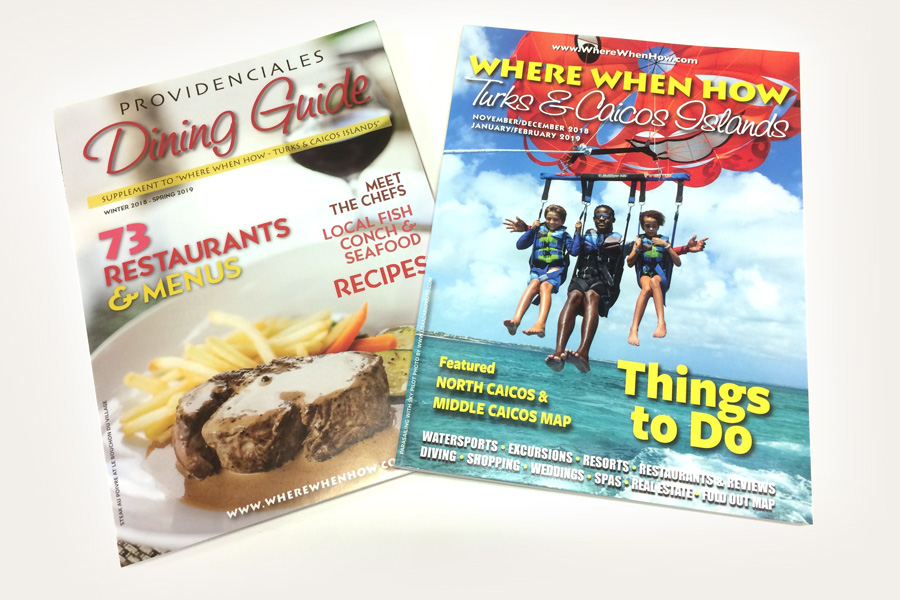 The covers of our latest Turks and Caicos Islands magazines.