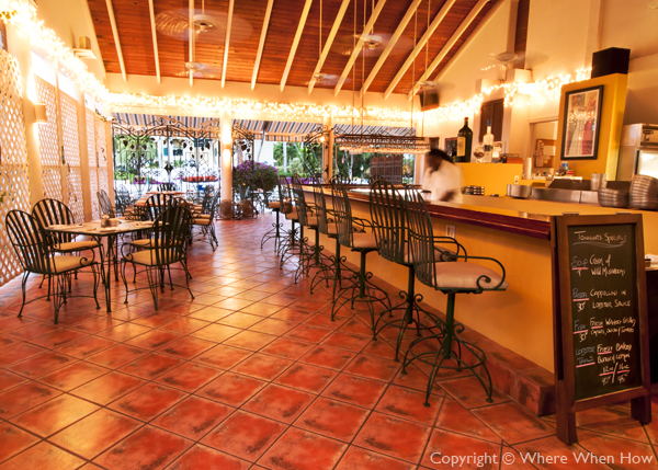 A photograph of Baci Ristorante in Harbour Towne at Turtle Cove, Providenciales (Provo), Turks and Caicos Islands.