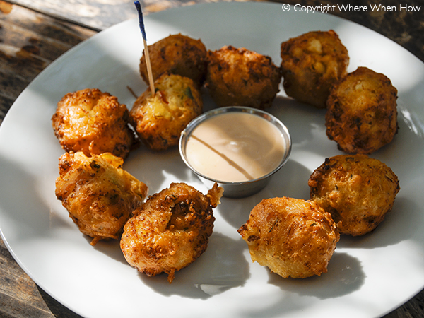 A photograph of Classic Conch Fritters, Bugaloo's traditional Bahamian recipe, Providenciales (Provo), Turks and Caicos Islands.