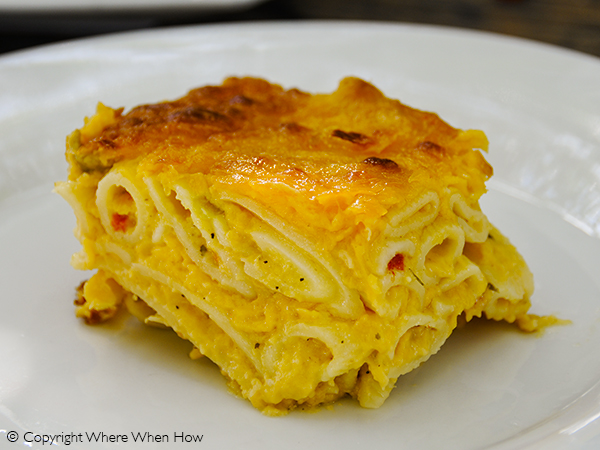 A photograph of Bugaloo's Grandma-Style Mac N Cheese made with Penne pasta, Providenciales (Provo), Turks and Caicos Islands.