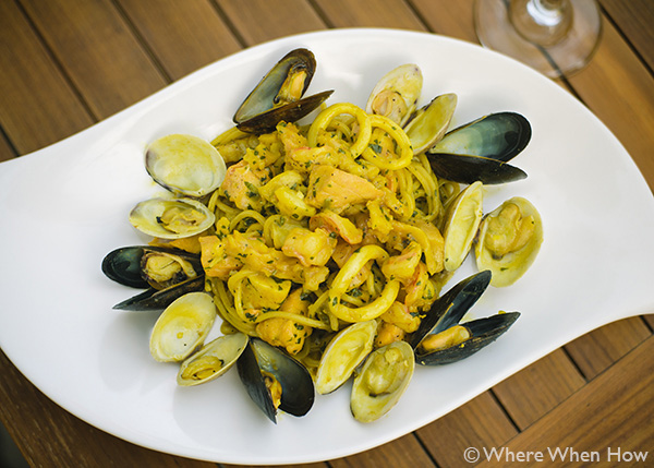 A photograph of  Homemade Tagliolini with Seafood at Caicos Café on Governors Road, Providenciales (Provo), Turks and Caicos Islands.