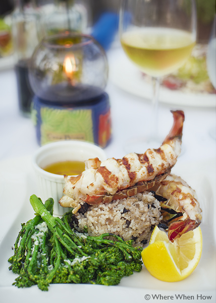 A photograph of the locally caught simply grilled Caicos lobster tail at Coco Bistro, Grace Bay Road, Providenciales (Provo), Turks and Caicos Islands.