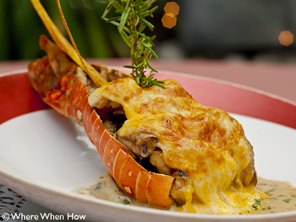 A photograph of Coyaba's legendary Lobster Thermidor, Grace Bay, Providenciales (Provo), Turks and Caicos Islands.