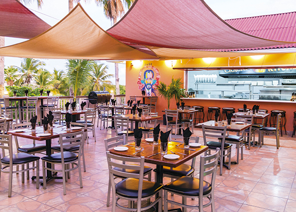 A photograph of Crackpot Kitchen Bar and Grill, upstairs an Ports of Call, Providenciales (Provo), Turks and Caicos Islands.