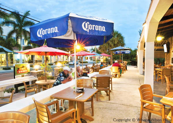 A photograph of the terrace at Danny Buoys Bar and Restaurant, Grace Bay, Providenciales (Provo), Turks and Caicos Islands.