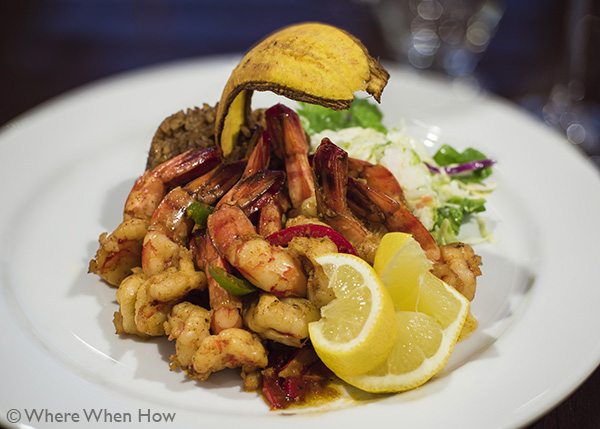A photograph of Bambarra Rum Shrimp at Fresh Catch Restaurant at The Saltmills, Providenciales (Provo), Turks and Caicos Islands.