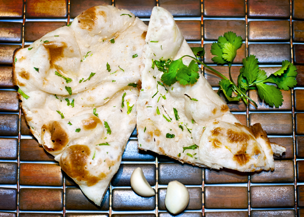 A photograph of Garlic Naan Bread at Garam Masala Indian Restaurant, The Regent Village, Providenciales (Provo), Turks and Caicos Islands.