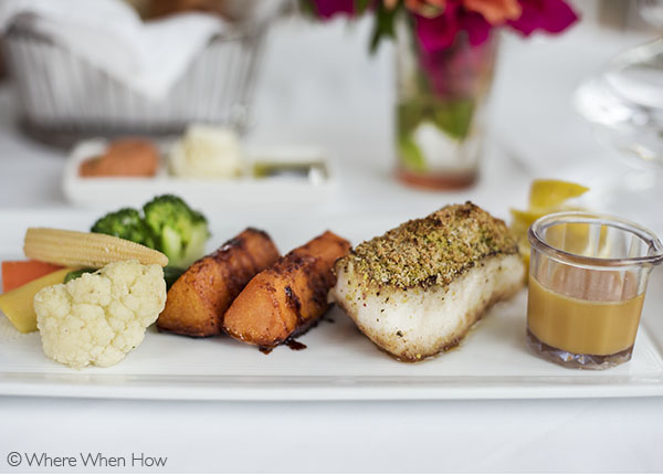 A photograph of Pistachio encrusted sea bass at Grace's Cottage.Grace's Cottage, Grace Bay, Providenciales (Provo), Turks and Caicos Islands.