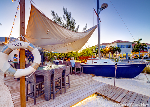A photograph of unique boat bar at The Landing Bar & Kitchen, Grace Bay, Providenciales (Provo), Turks and Caicos Islands.