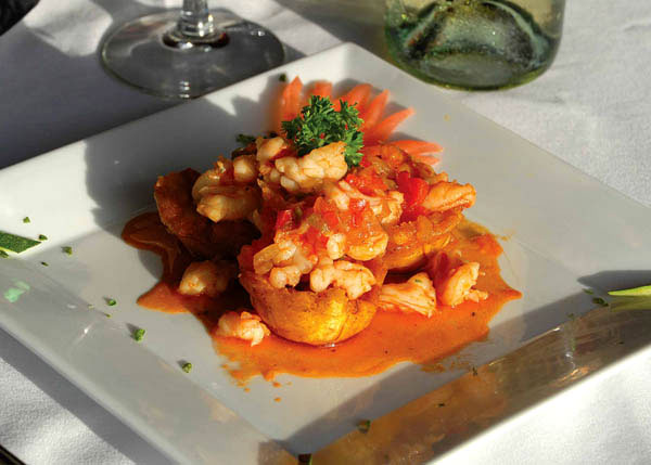 A photograph of Shrimp in Plantain appetiser at Las Brisas Restaurant, Chalk Sound National Park, Providenciales (Provo), Turks and Caicos Islands.