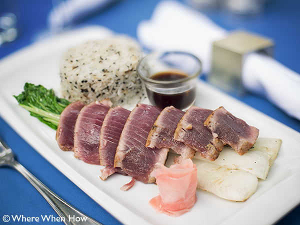 A photograph of Rare Seared Yellowfin Tuna at Opus
