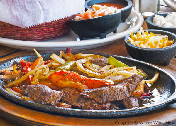 A photograph of Steak Fajitas at Somewhere on the Beach Café, Coral Gardens Resort, Grace Bay Beach, Providenciales (Provo), Turks and Caicos Islands.