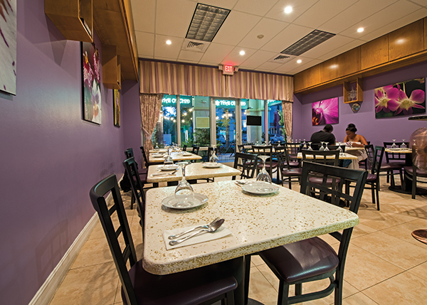 A photograph of Thai Orchid in The Regent Village offers indoor air-conditioned dining  Thai Orchid Restaurant in the Regent Village, Providenciales (Provo), Turks and Caicos Islands.