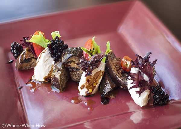 A photograph of Grilled Eggplant Salad at The Vix Bar & Grill, Regent Village, Grace Bay, Providenciales (Provo), Turks and Caicos Islands.
