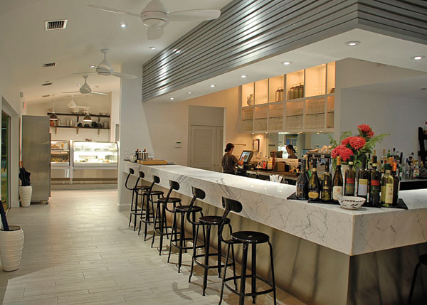 A photograph of the Italian marble bar at Via Veneto, Ports of Call, Grace Bay, Providenciales (Provo), Turks and Caicos Islands.
