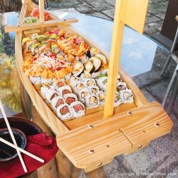 A photograph of The Sushi Boat Special at Yoshis Japanese Restaurant, Providenciales (Provo), Turks and Caicos Islands.
