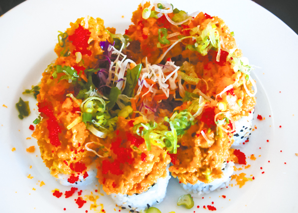 A photograph of Volcano Roll at Yoshis Japanese Restaurant, Providenciales (Provo), Turks and Caicos Islands.