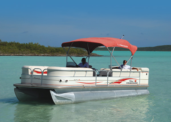 A photograph of pontoon boat cruise, Providenciales (Provo), Turks and Caicos Islands.