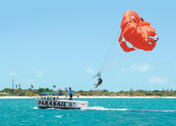 A photograph of parasailing on Grace Bay, Providenciales (Provo), Turks and Caicos Islands.