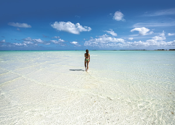 A photograph of deserted beach, Wild Cow Run on Middle Caicos, Providenciales (Provo), Turks and Caicos Islands.