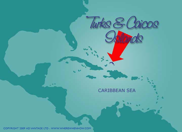 A map of the Caribbean showing the location of the Turks and Caicos Islands