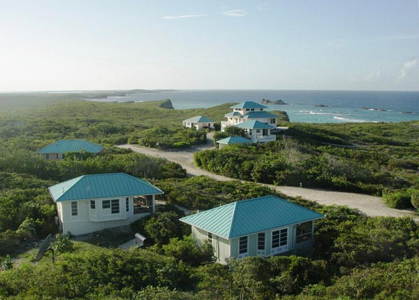 A photograph of Dragon Cay Resort overlooking Mudjin Harbour on Middle Caicos, Turks and Caicos Islands, British West Indies