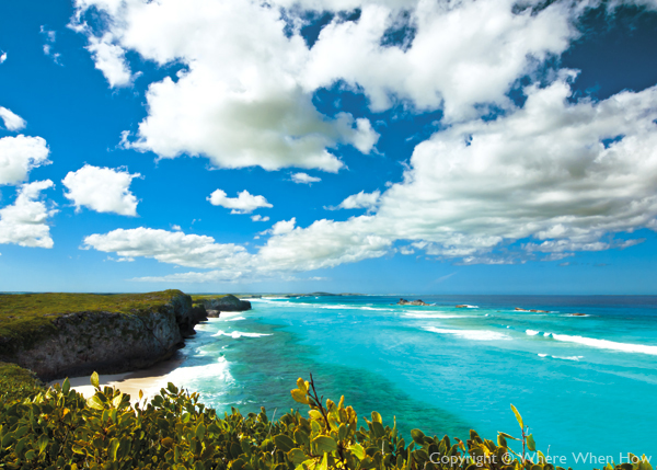 A photograph of dramatic bluffs and hidden beaches along the Crossing Place Trail in Middle Caicos, Turks and Caicos Islands, British West Indies