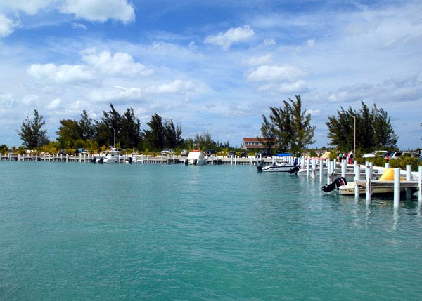 A photograph of Sandy Point Marina, North Caicos, Turks and Caicos Islands, British West Indies