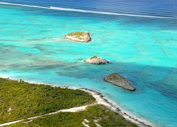 A photograph of Three Mary Cays, North Caicos, Turks and Caicos Islands, British West Indies