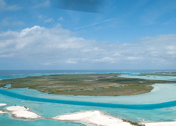 A photograph of the 1000 acre island of Parrot Cay, reached by boat from Providenciales, Turks and Caicos Islands, British West Indies