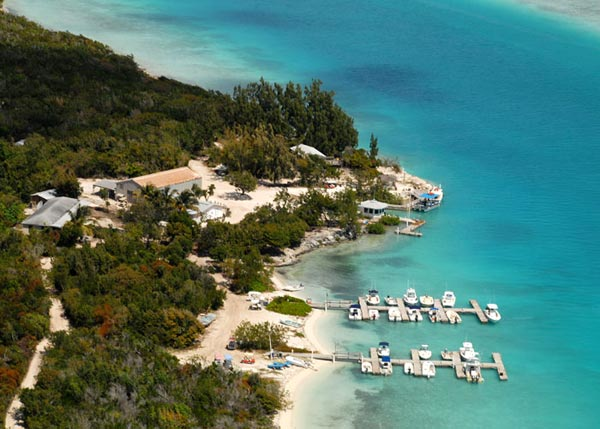A photograph of the Pine Cay Boat Dock, Turks and Caicos Islands, British West Indies