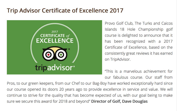 A photograph of Provo Golf Club, Trip Advisor Certificate of Excellence, Turks and Caicos Islands, British West Indies