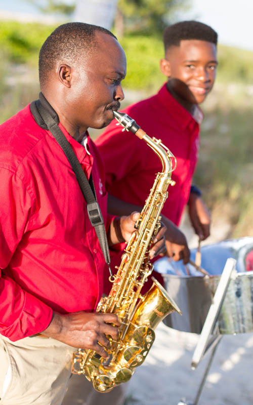 A photograph of steel pan drum and saxophone, Providenciales (Provo), Turks and Caicos Islands