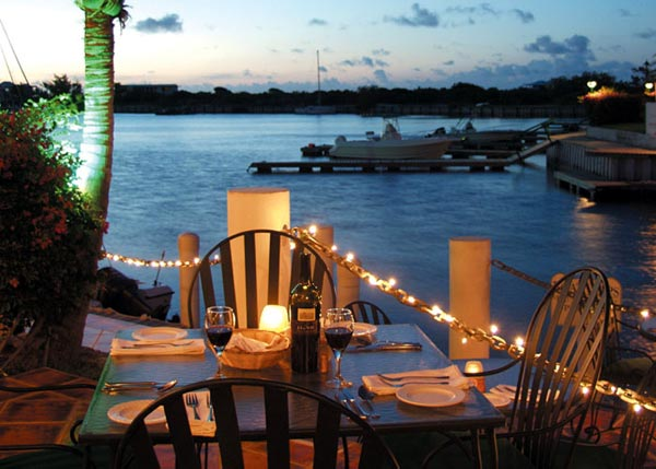 A photograph of Baci Ristorante overlooking Turtle Cove Marina, Providenciales (Provo), Turks and Caicos Islands.