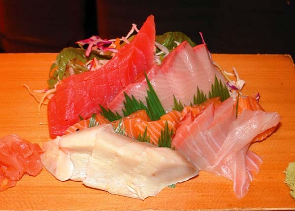 A photograph of Sashimi Selection at Yoshis Japanese Restaurant, Providenciales (Provo), Turks and Caicos Islands.