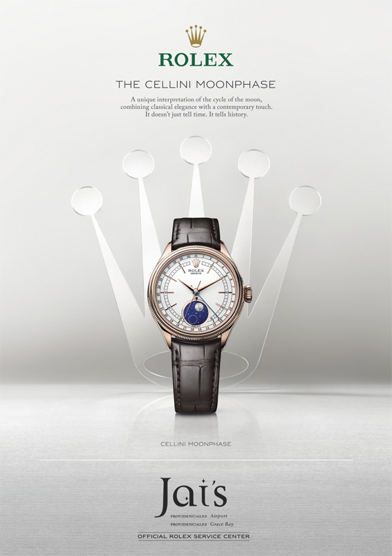 An advertisement for The Celline Moonphase Rolex available at Jai's Duty Free, Regent Village, Providenciales (Provo), Turks and Caicos Islands