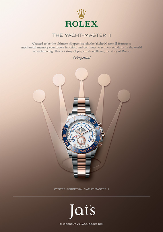 An advertisement for The Oyster Perpetual Yacht-Master II Rolex available at Jai's Duty Free, Regent Village, Providenciales (Provo), Turks and Caicos Islands