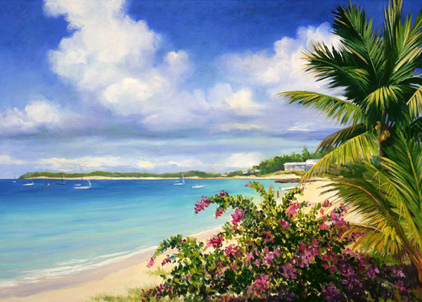 An original painting of the Turks and Caicos Islands.