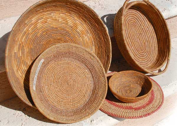 A photograph of locally made baskets on Providenciales (Provo), Turks and Caicos Islands