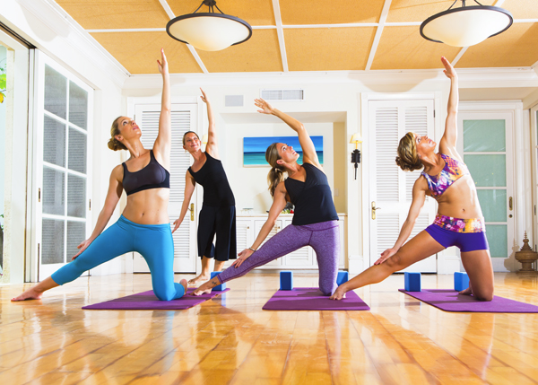 A photograph of a yoga class at The Palms Spa on Providenciales (Provo), Turks and Caicos Islands