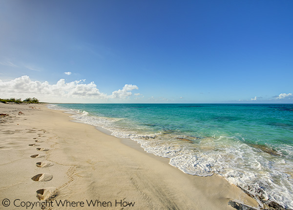 A photograph of pristine and desolate North Beach, Salt Cay, Turks and Caicos Islands, British West Indies