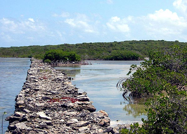 A photograph of a 100 year old causeway on East Caicos, Turks and Caicos Islands.