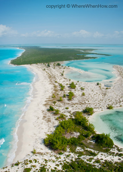 A photograph of Little Water Cay and Water Cay, Turks and Caicos Islands.